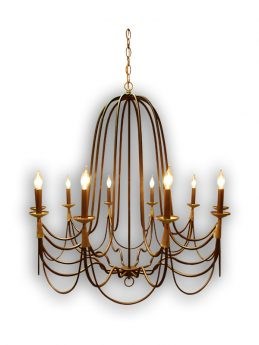 10 Arm Handcrafted Chandelier with Copper Wrap