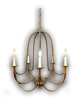 5 Arm Handcrafted Chandelier with Copper Wrap